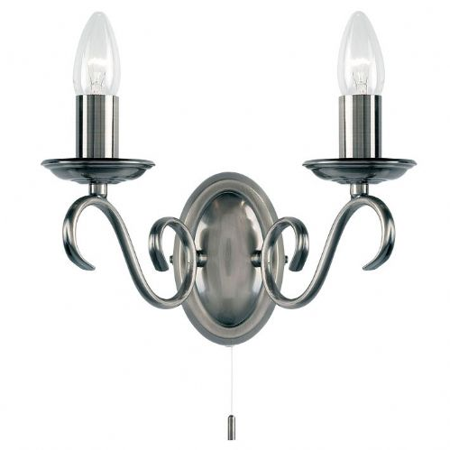 Antique Silver Wall Light Plus Switch 2030-2AS